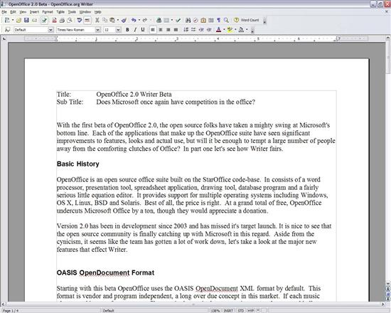 OpenOffice Writer Writer Beta 2.0